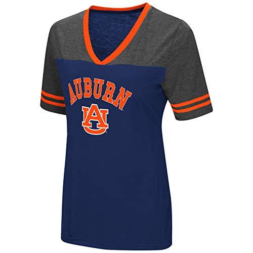 Colosseum Women's NCAA Varsity Jersey V-Neck T-Shirt-Auburn Tigers-Navy-Small