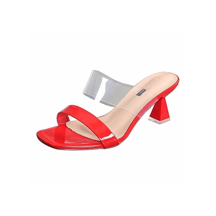 Kphy Scarpe Da Donna summer Wild Trasparenti A Piedi Poco Profonde Bocca Classico Di Moda Le Forma Cono 8cm Tacchi Alti Forte Delle Pantofole