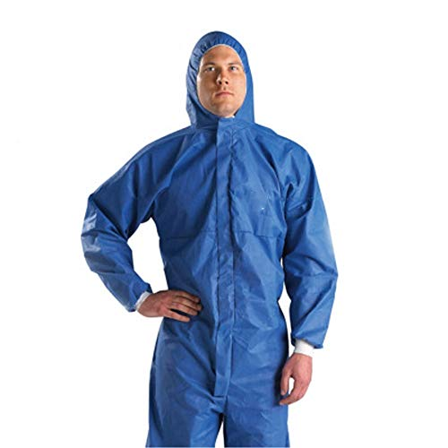 Lay Protective Coverall, Hooded Radioactive Suit Elastic Waist Clothing Anti Static Anti Chemical Radiation Protection,M