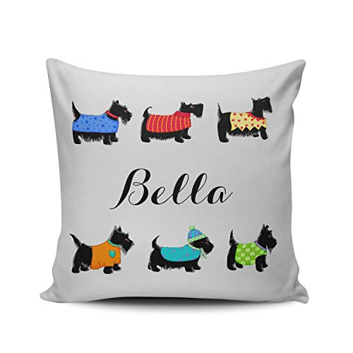 - MUKPU Fashion Home Decoration Design Throw Pillow Case Colorful Black Scottie Dogs Name Personalized Decorative 18X18 Inch Square Custom Pillowcase Cushion Cover Double Sided Printed (Set of 1)
