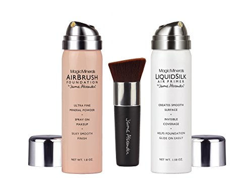 MagicMinerals AirBrush Foundation by Jerome Alexander 3-Piece Makeup Set - Liquid Silk AirPrimer, Mineral Foundation Spray and Kabuki Brush - Medium Shade ()