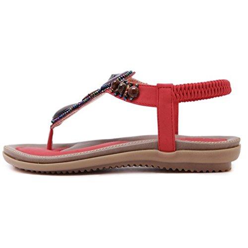 TAOFFEN Women Retro Slingbacks Sandals Flip Flop School Shoes Red iaQWwyq