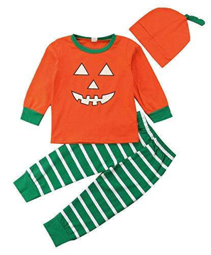 Family Matching Halloween Pajamas Kids Long Sleeve Pumpkin Tops Striped Pants Sleepwear Nightwear(7T)