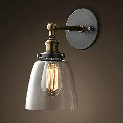 Lixada Vintage Glass Wall Sconces Adjustable Industrial Edison Wall Lamps Retro Wall Bedroom Stair Mirror Lamps E26/E27 Base