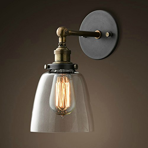 Lixada Vintage Glass Wall Sconces Adjustable Industrial Edison Wall Lamps Retro Wall Bedroom Stair Mirror Lamps E26/E27 Base - Copper Wall Lamp