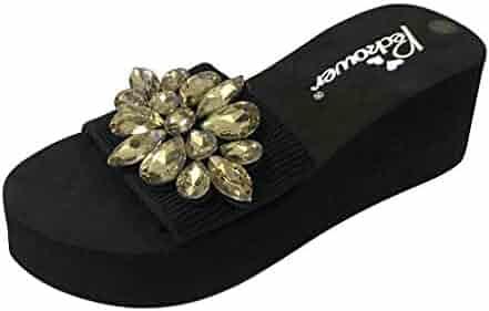 a5b100723 BSGSH Women's Stretchy Slip On Open Toe Flower Rhinestone One Band Platform  Sandals
