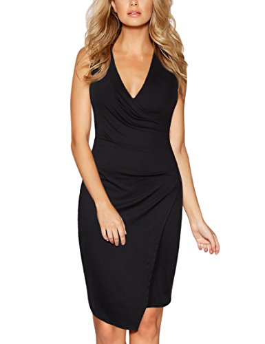 GlorySunshine Women's Sleeveless V Neck Faux Wrap Ruched Midi Bodycon Cocktail Pencil Dres ...