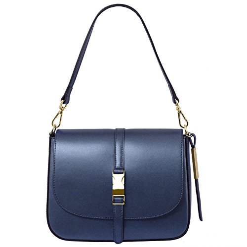 Tuscany Leather Nausica Borsa a tracolla in pelle metallic Blu scuro Blu Scuro