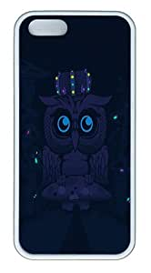 IMARTCASE iPhone 5S Case, Abstract Blue Dark Night Mushrooms Glowing Owls Artwork Case for Apple iPhone 5S/5 TPU - White