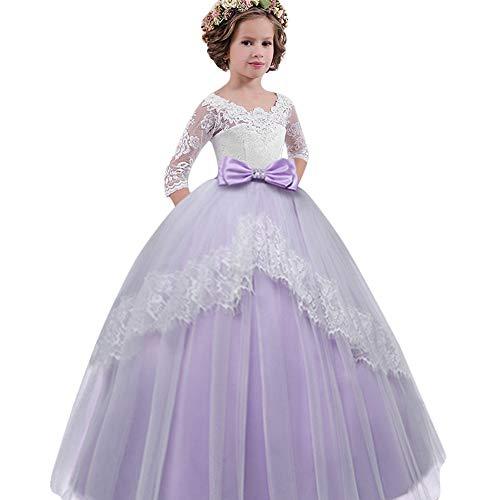 TOPUNDER Lace Bowknot Princess Wedding Performance Formal Tutu Dress for Child Girls by TOPUNDER