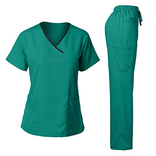 Women's Scrub Set Stretch Top and Pants Teal Green ()