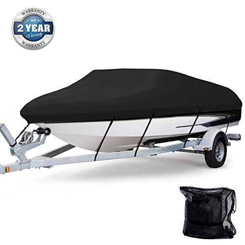(Anglink Waterproof Boat Cover, Heavy Duty 600D Polyester Oxford Professional Bass Runabout Boat Cover, Durable & Tear Proof, All Weather Outdoor Protection - Fits for 17-19ft V-Hull)