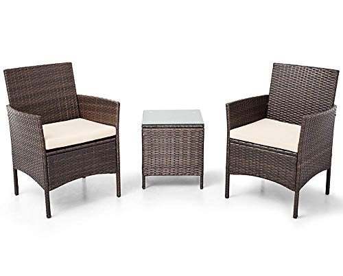 LAHAINA Patio Furniture Set 3 Piece Outdoor Wicker Bistro Set Rattan Chair Conversation Sets with Coffee Table (Brown) ()