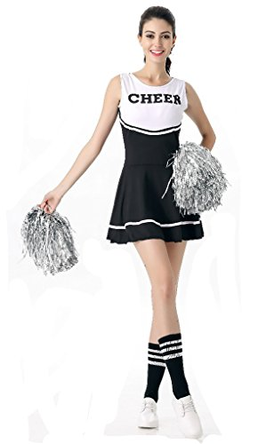 Leading Ladies Costumes (SWISH Women's Adult Cheerleader Costume Fancy Dress Sport Cheerleading Ourfit (Black))