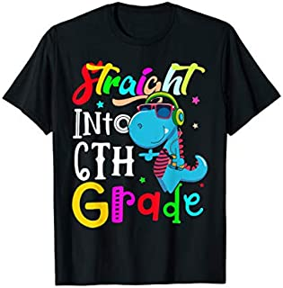 Straight Into 6th Grade shirt Back to School Dinosaur tee T-shirt | Size S - 5XL