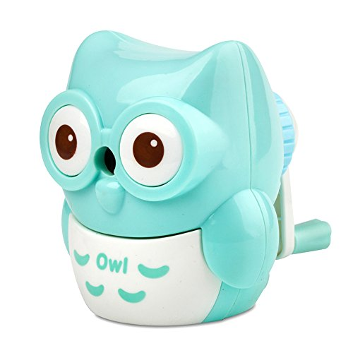 StudentsZone Kids Hand held Manual Pencil Sharpener with Cover for Colored Pencils (Owl-Blue)