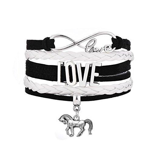 Cute Pony Running Horse Animal Multi-layer Braided Bracelet Jewelry for Women (White) - Pony White Bracelet