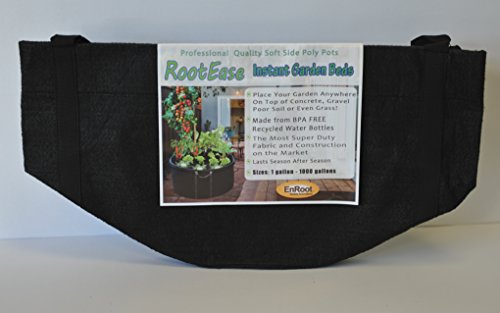 RootEase Garden Planting Aeration Fabric Container, Heavy Duty Durable Fabric Grow Pots, Perfect Harvest Planter, Raised Bed, Best Root Treatment Eco-Friendly Grow Bags (10 Gallon, Black)