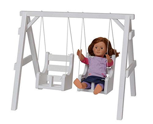 Double Swing Set 12 Inch - 18 Inch Dolls USA Handcrafted Playground, White by Clip Clop