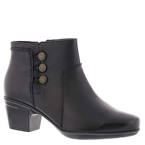 CLARKS Women's Emslie Monet Ankle Bootie, Black Leather, 6.5 W US