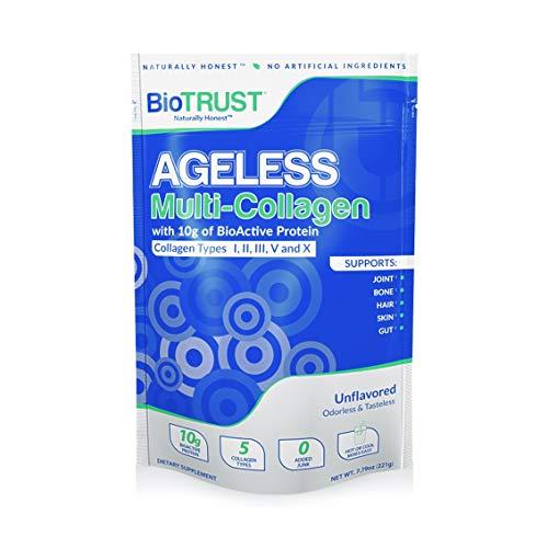 BioTrust Ageless Multi Collagen Protein | 5-in-1 Collagen Powder | 5 Collagen Types (I, II, III, V & X) | Hydrolyzed Collagen Peptides | Grass-Fed Beef, Sustainable Fish, Chicken, Eggshell Membrane