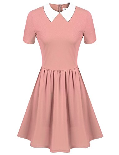 Women's Cute Pink Short Sleeve Doll Collar Dress (L, Pink)