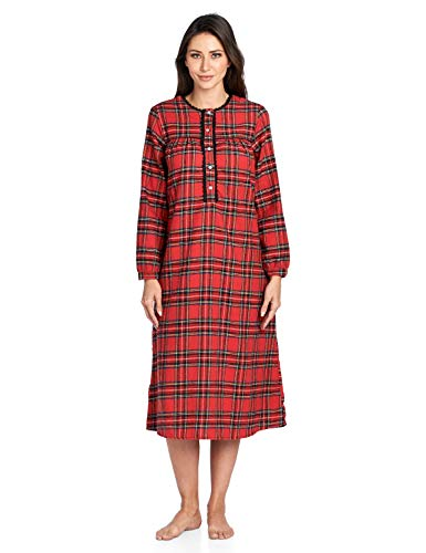 Ashford & Brooks Women's Flannel Plaid Long Sleeve Nightgown, Red Stewart, 3XL