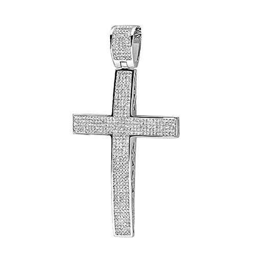 Dazzlingrock Collection 2.00 Carat (ctw) White Diamond Micro Pave Mens Hip Hop Style Religious Cross Pendant Necklace (Silver Chain Included), Sterling Silver