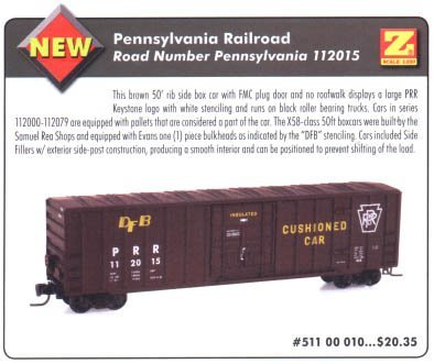 MicroTrains Pennsylvania Railroad PRR 50' Rib Side Box Car - MT Cplrs (Now Sold Out at Micro Trains) ()