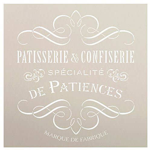 Vintage French Bakery Stencil by StudioR12 | Patisserie and Confiseri Word Art - Reusable Mylar Template | For Painting Wood Signs | Chalk Paint Furniture Stenciling Large Sizes Available- Select ()