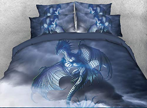 - Beddinginn Flying Dragon Bedding Queen 3D Mythical Dragon Print 4 Piece Bed Set with 2 Pillow Shams Cool Duvet Cover Set for Child Gift No Comforter