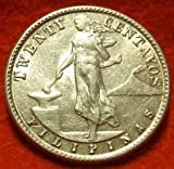 US Territory -- 1945-D Philippines 20 Centavos SILVER Coin --Extra Fine