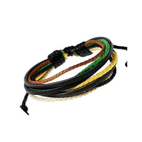 Bracelets Jewelry Wristband Colourful Multilayer Leather Cotton Rope Adjustable Hand Made Men Women Clothing Accessories