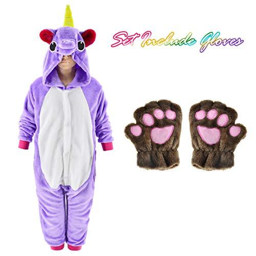 Unicorn Onesie for kids Animals Sleepwear Pajamas Pjs Costume with Gloves (Purple 4T) -