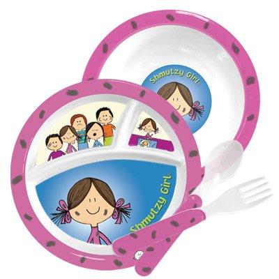 Melamine Children's Plate Dish Set - 'Shmutzy Girl' Schmutzy Girl From Jewish Matzah Ball Book Collection (Set Matzah Plate)