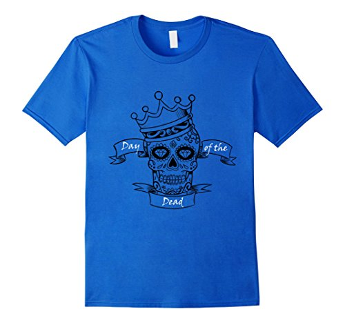 Dio De Los Muertos Costume (Mens Day of the Dead Skull T-Shirt Small Royal Blue)