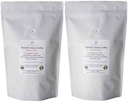 Enema Coffee- Purelife Organic Air Roasted – 2 lbs -Specialty Grade Mold Free -Medium Roast Ground – Accepted by Gerson Institute- Buy 2 Save