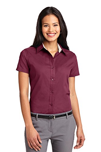 burgundy Camiseta Borgoña Authority Port Mujer Manga Stone Para light Corta De B1CqC8w