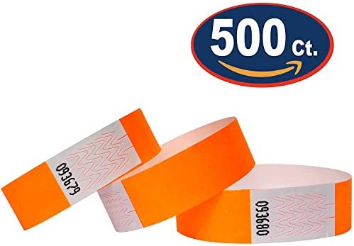 Tyvek Wristbands 500 Pack Neon Orange 3 4 Tyvek Wristbands For Events