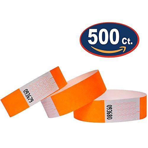 Tyvek Wristbands - 500 Pack - Neon Orange - 3/4