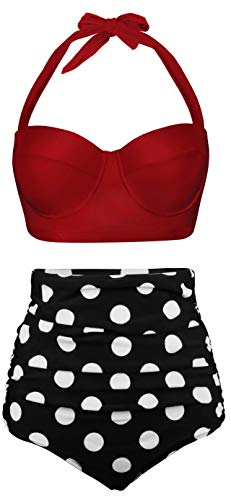 Angerella Women Vintage Polka Dot High Waisted Bathing Suits Bikini Set