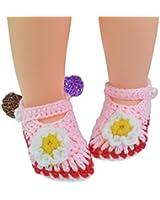 Outop Pink White Flower Baby Newborn Infant Girls Crochet Knit Socks Crib Casual Shoes Prewalker