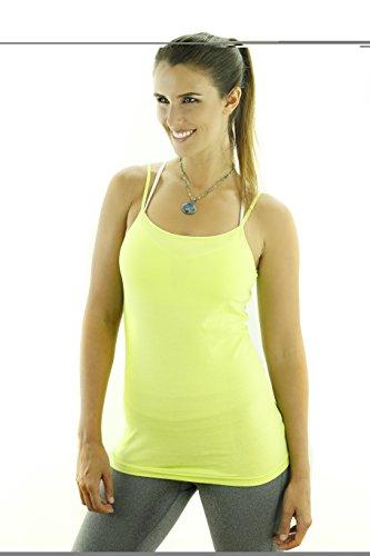 Sportoli174; Women's Basic Active Cami Camisole Yoga Workout Tank Top Tee Shirt - Neon Yellow (Large)