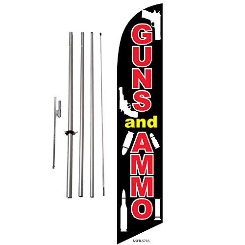 (Guns and Ammo for Sale Feather Banner Swooper Flag Kit - Includes Pole Kit and Ground Spike)