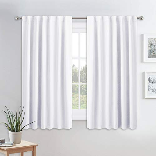 PONY DANCE Kitchen Curtains White - Thermal Insulated Draperies Light Filter Curtain Decorative Drapes with Back Tab Energy Saving for Kitchen, 52