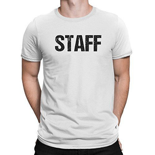 NYC FACTORY Staff T-Shirt White Mens Tee Staff Event Shirt Front & Back Screen Printed (Small) - Back Screen Printed