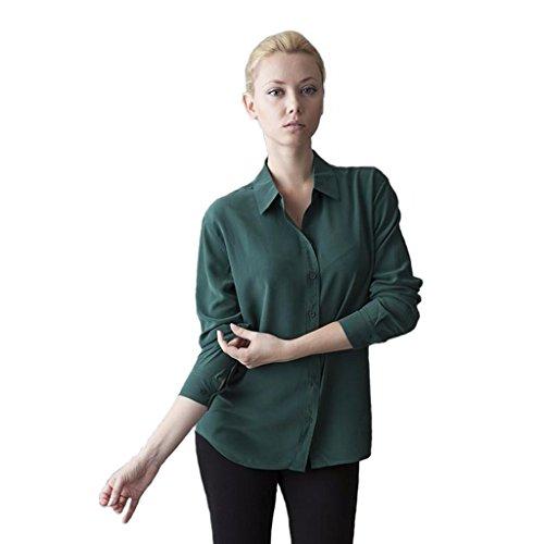 Women's Hepburn Silk Blouse Long Sleeve Green Ladies Shirts - Size Large