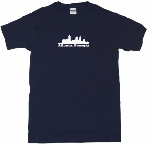 Atlanta Georgia City Skyline Silhouette Men's Tee Shirt 6XL-Navy