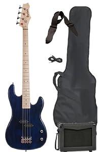 full size electric bass guitar starter beginner pack with amp case strap blue. Black Bedroom Furniture Sets. Home Design Ideas