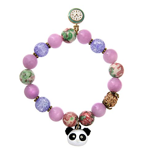 LUREME Lovely Natural Stone Beaded Bracelet Stretch with Panda Charm for Girls-Pink (bl003262-2)